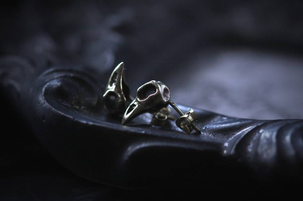 Brass Raven Skull Studs