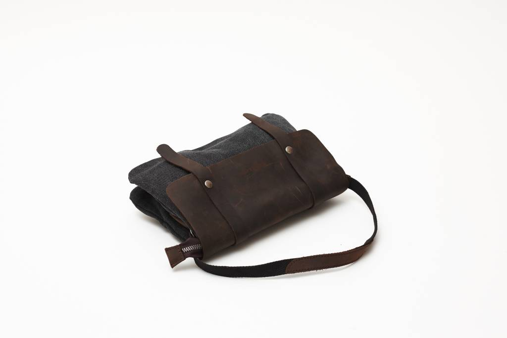 Canvas Leather Purse - Black
