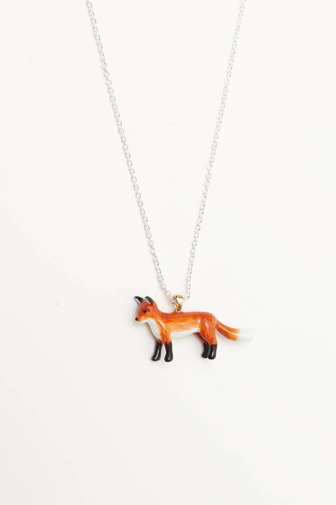 Hand-Painted Fox Necklace