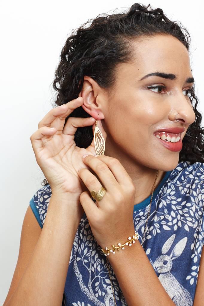 Brass Dragonfly Stencil Earrings