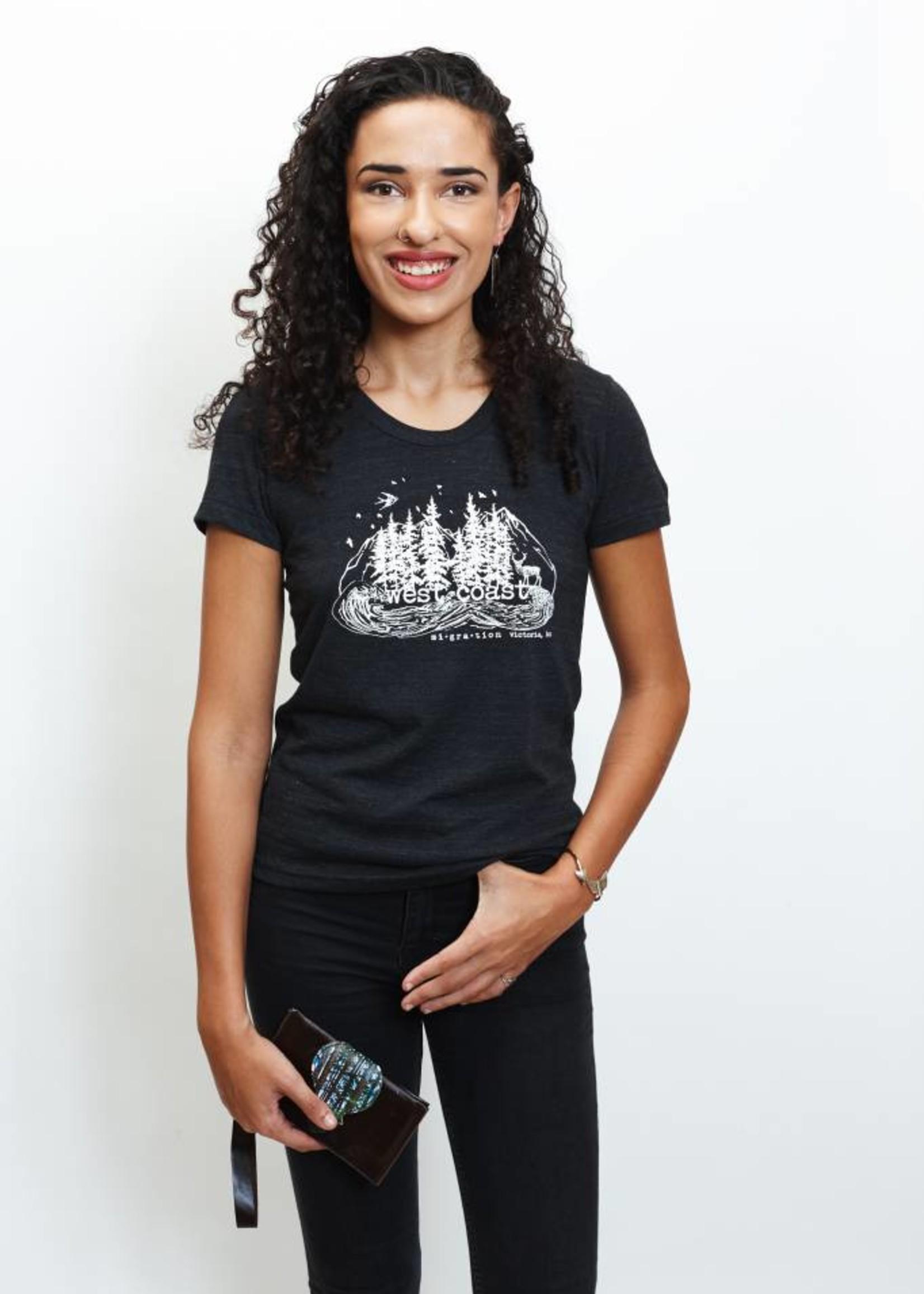 Migration - West Coast Charcoal T-Shirt Woman (Black)