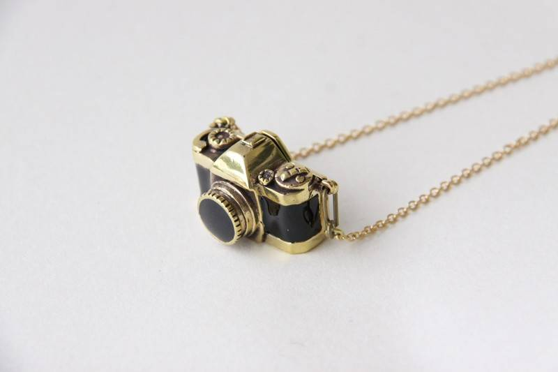 Brass Camera Locket Necklace