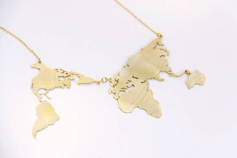 Brass World Map Necklace