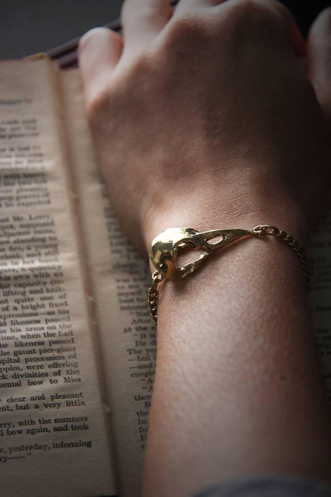Brass Raven Skull Bracelet