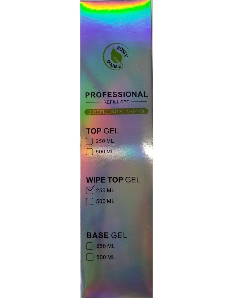 Bossy Double BOSSY DOUBLE - Top Gel No Wipe 250 ml Professional Refill Set