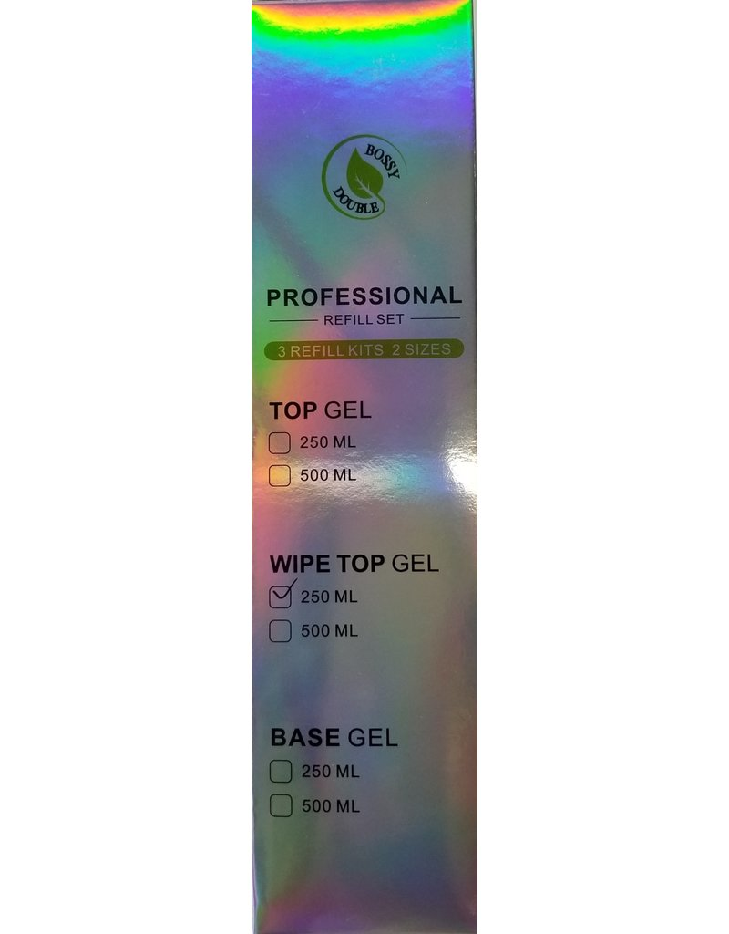 BOSSYGEL Bossy Gel - Top Gel No Wipe Refill set (250 ml)