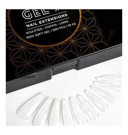 Aprés Aprés Gel-X Nail Extensions - Sculpted Coffin Long Tips 100% Soft Gel 500pcs