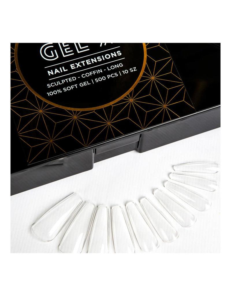 Aprés Apres Gel-X Nail Extensions - Sculpted Coffin Long Tips 100% Soft Gel 500pcs