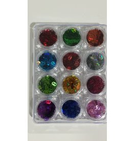 Nail Art Accessories - Lazer Glitter 12-jar-Set - Linked Circles