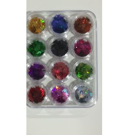 Nail Art Accessories - Laser Glitter 12-jar-Set - Star
