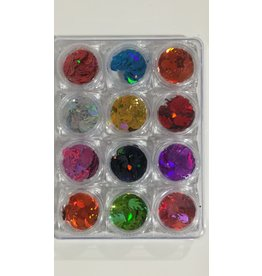 Nail Art Accessories - Laser Glitter 12-jar-Set - Flame