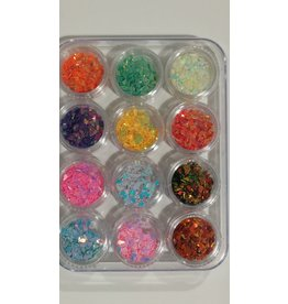 Nail Art Accessories - Laser Glitter 12-jar-Set - Water Drop