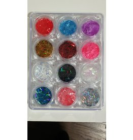 Nail Art Accessories - Laser Glitter 12-jar-Set - Confetti