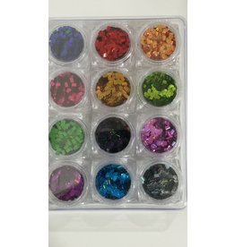 Nail Art Accessories - Laser Glitter 12-jar-Set - Rectangular