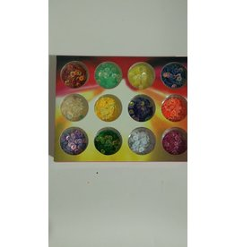 Nail Art Accessories - Glitter 12-jar-Set - Round Shape