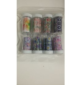 Nail Art Accessories - Nail Foil 8-jar-Set - Flower & Pattern