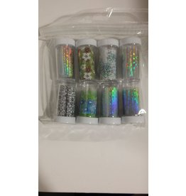 Nail Art Accessories - Nail Foil 8-jar-Set - Flower & Clear Pattern