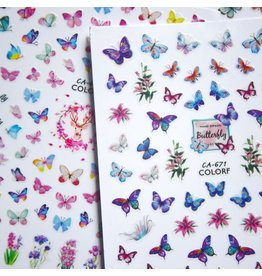 3D Adhesive Nail Decal - Butterfly Shaped - CA-671 COLORF
