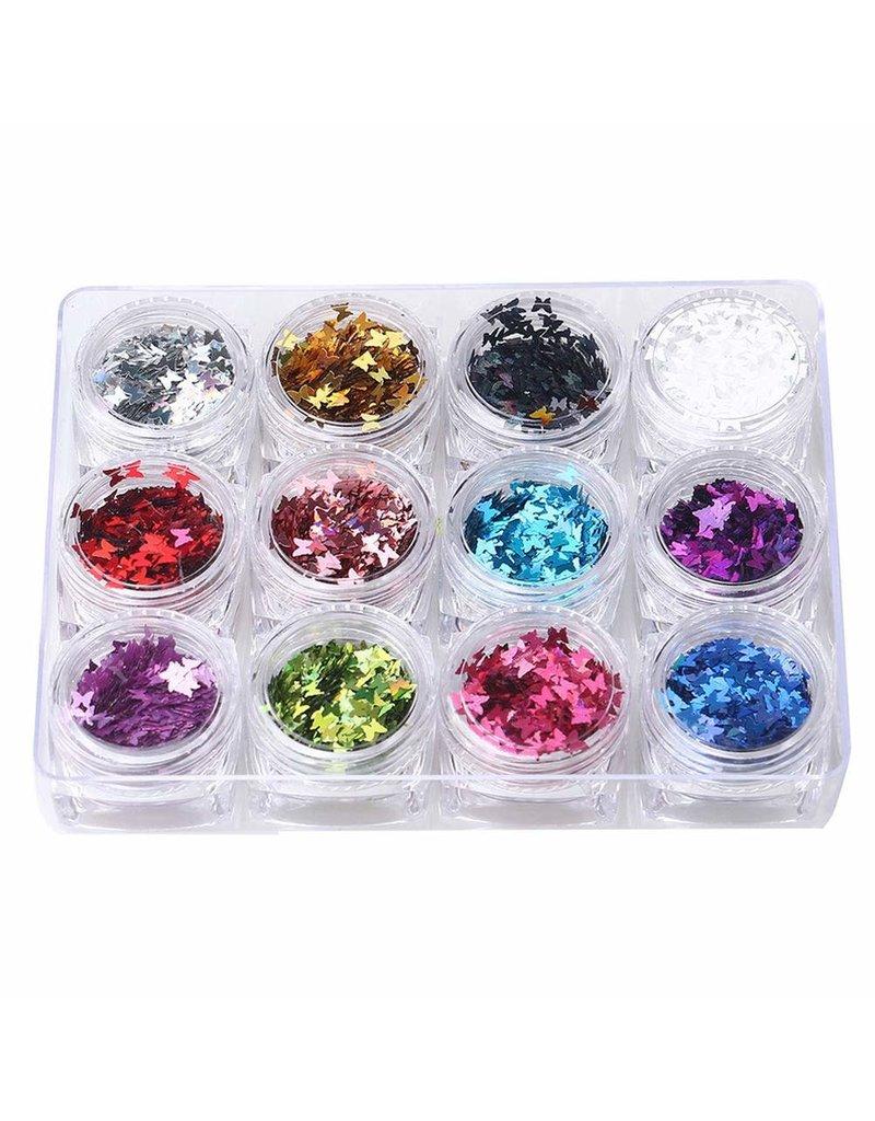 Nail Art Accessories - Laser Glitter 12-jar-Set - Butterfly