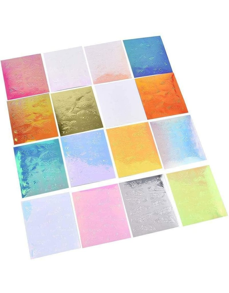 Holographic Butterfly Nail Art Stickers (Set of 16 Sheets)