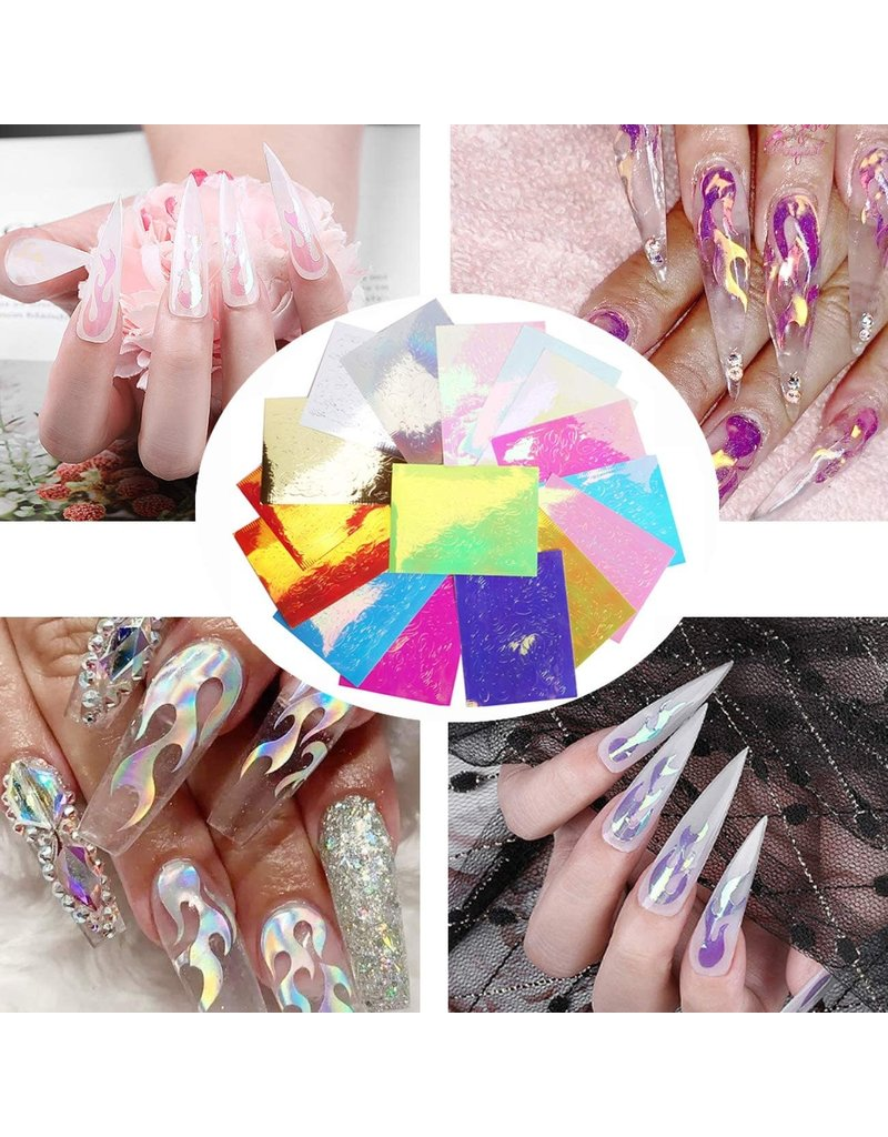 Holographic Flame Nail Art Stickers (Set of 16 Sheets)