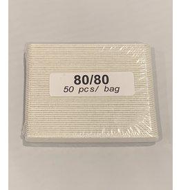 Nail File - Mini - No Name - White - 80/80 - Case (100pcs)