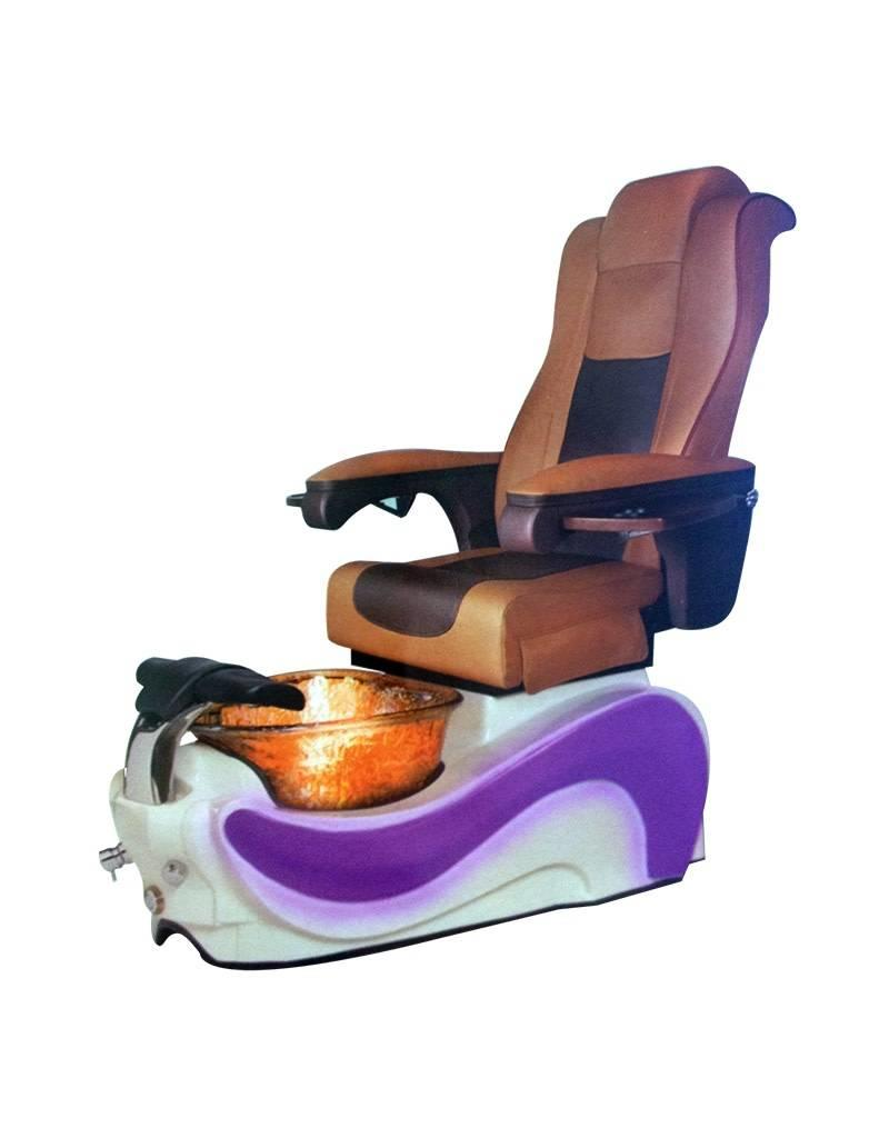 Aqua Spa 9 LED - 9625 Butterscotch Chairs - Biscuit Base - Gold Reflection Glass Bowl - 16 Colors LED
