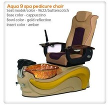 Aqua Spa 9 LED - 9622 Butterscotch Chairs - Biscuit Base - Gold Reflection Glass Bowl - 16 Colors LED