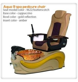 AQUA Spa Aqua Spa 9 LED - 9622 Butterscotch Chairs - Biscuit Base - Gold Reflection Glass Bowl - 16 Colors LED