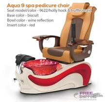Aqua Spa 9  - 9622 Hollyhock Chairs - Cappuccino Base with Amber Insert - Gold Reflections Glass Bowl