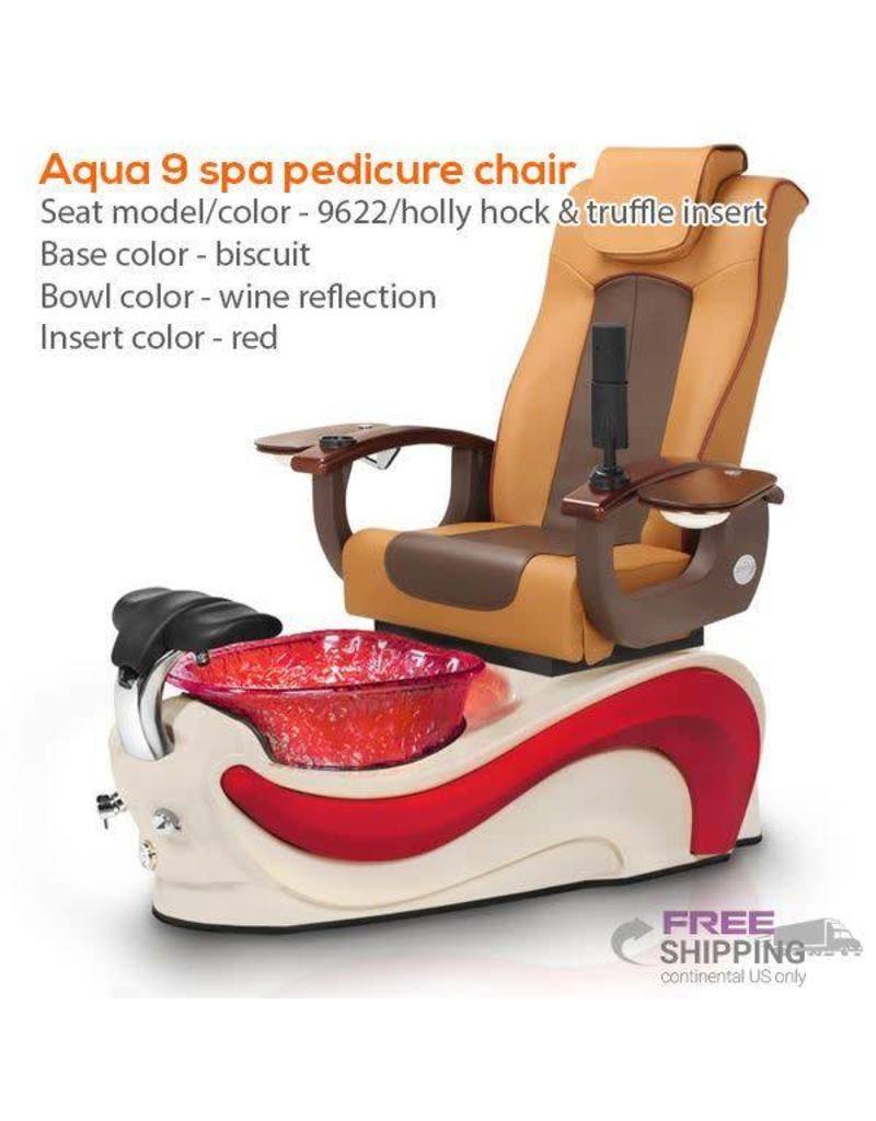 AQUA Spa Aqua Spa 9  - 9622 Hollyhock Chairs - Cappuccino Base with Amber Insert - Gold Reflections Glass Bowl