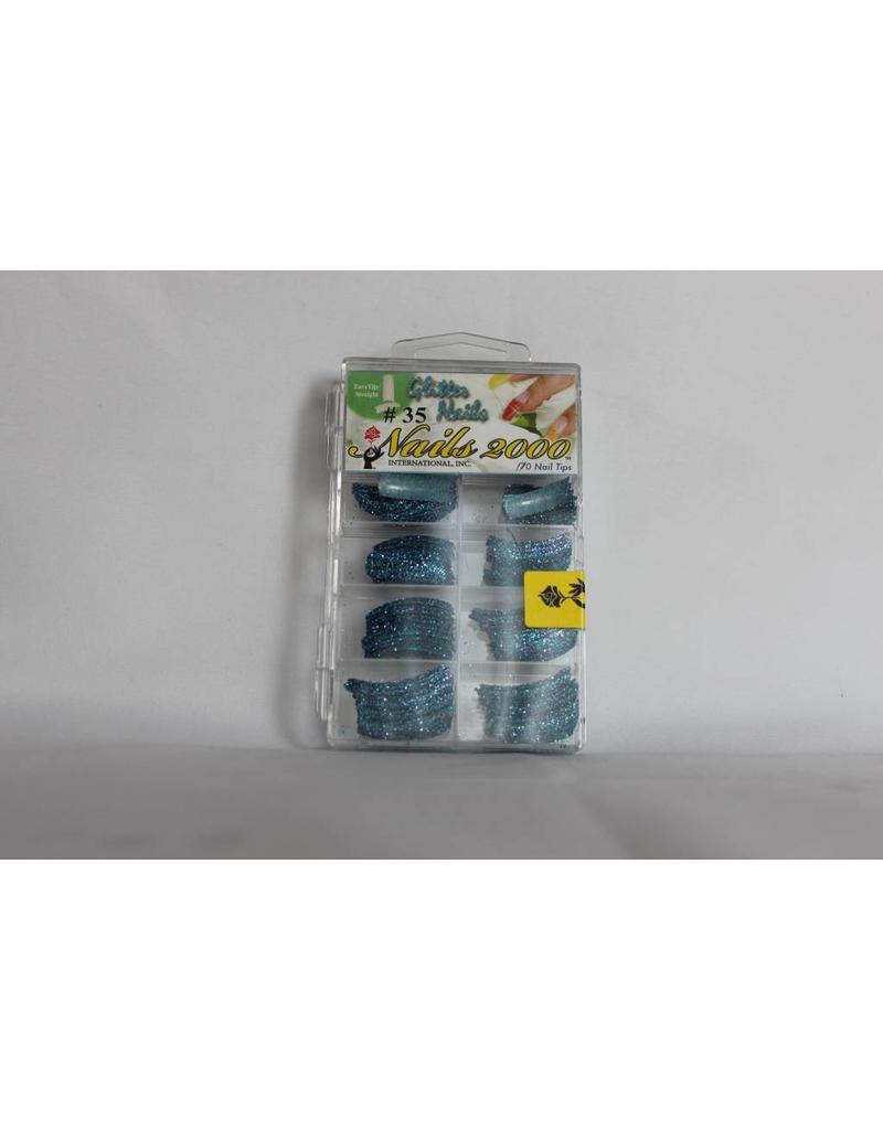 #35 Nails 2000 Glitter Nails - 170 Nail Tips (Blue)