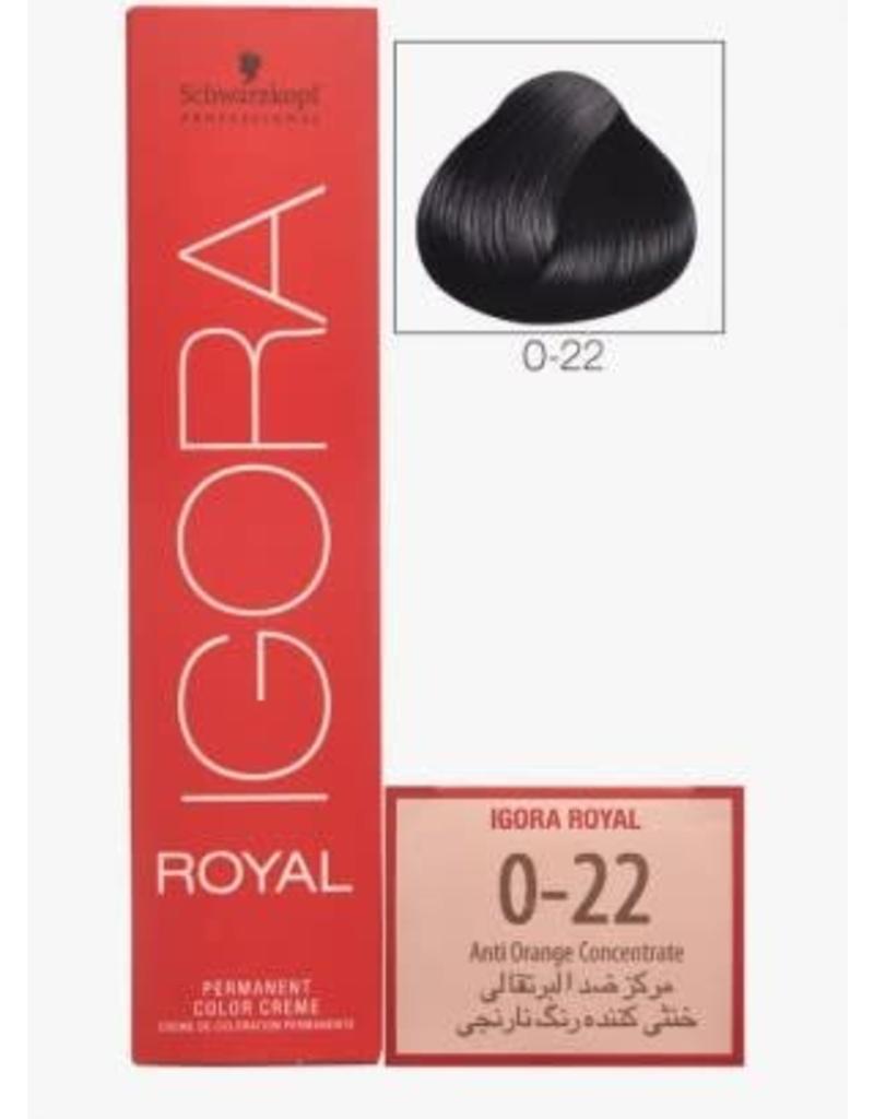 Schwarzkopf #0-22 Anti Orange Concentrate - Royal IGORA Schwarzkopf Permanent Color Creme