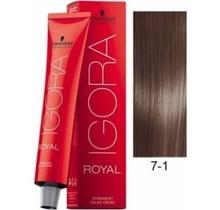 #7-1 Medium Blonde Cendre 60g - Royal IGORA Schwarzkopf Permanent Color Creme