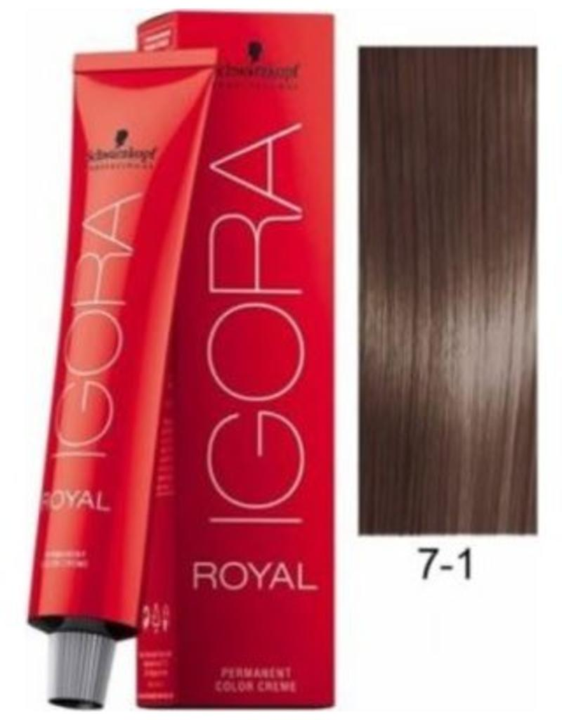 Schwarzkopf #7-1 Medium Blonde Cendre 60g - Royal IGORA Schwarzkopf Permanent Color Creme