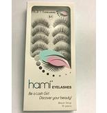 #51 Hami Eyelashes - Black strip 10 pairs Professional Fashion Lashes
