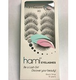 #43 Hami Eyelashes - Black strip 10 pairs Professional Fashion Lashes