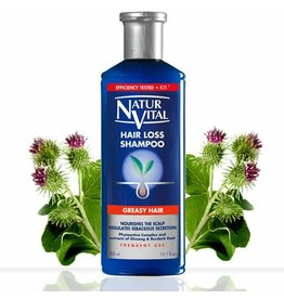 Natur Vital Hair Loss Shampoo Greasy Hair, Phytoactive Complex & extracts of Gingseng & Burdock Root 300ml