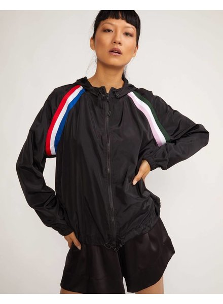 Cynthia Rowley Serena Striped Zip Up Windbreaker
