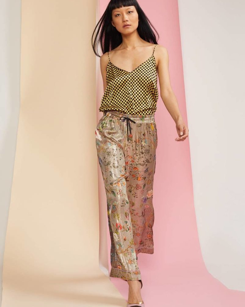 Cynthia Rowley Piper High Waisted Printed Lamé Wide Leg Pant