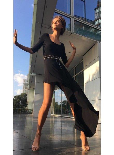 Norma Kamali Reversible Scoop Neck Diagonal Dress