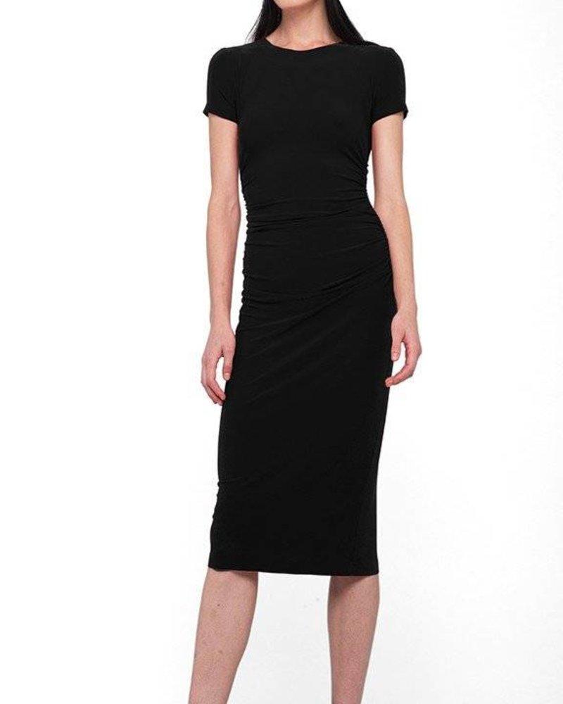 Norma Kamali Short Sleeve Crew Neck Shirred Waist Dress