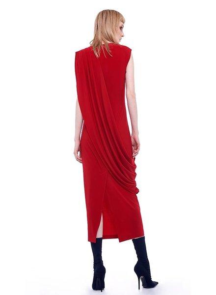 Norma Kamali Sleeveless Draped Long Dress