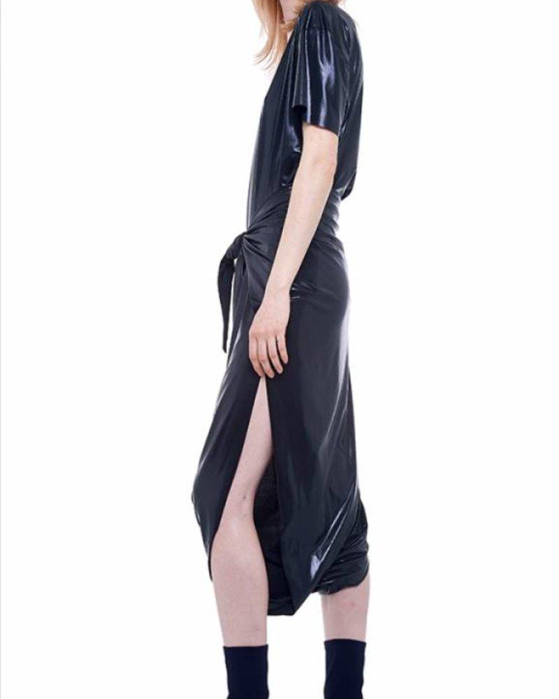 Norma Kamali Short Sleeve Boxy Diaper Dress