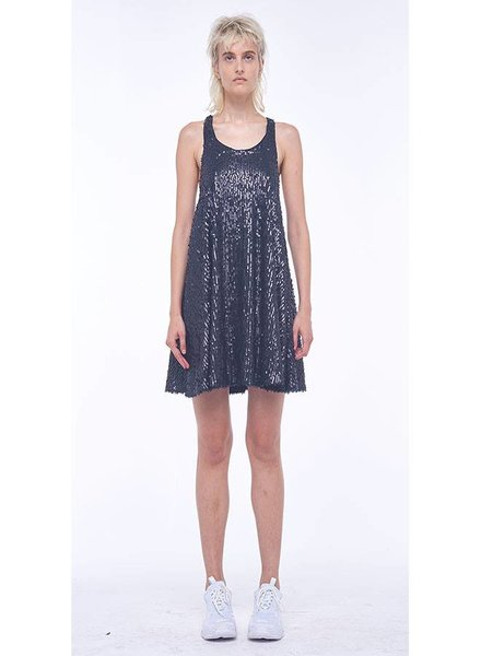 Norma Kamali All Over Sequin Racer Flared Swing Dress