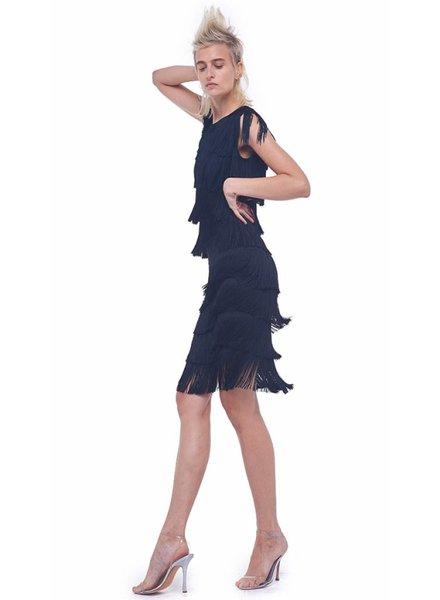 Norma Kamali Fringe Skirt Above Knee
