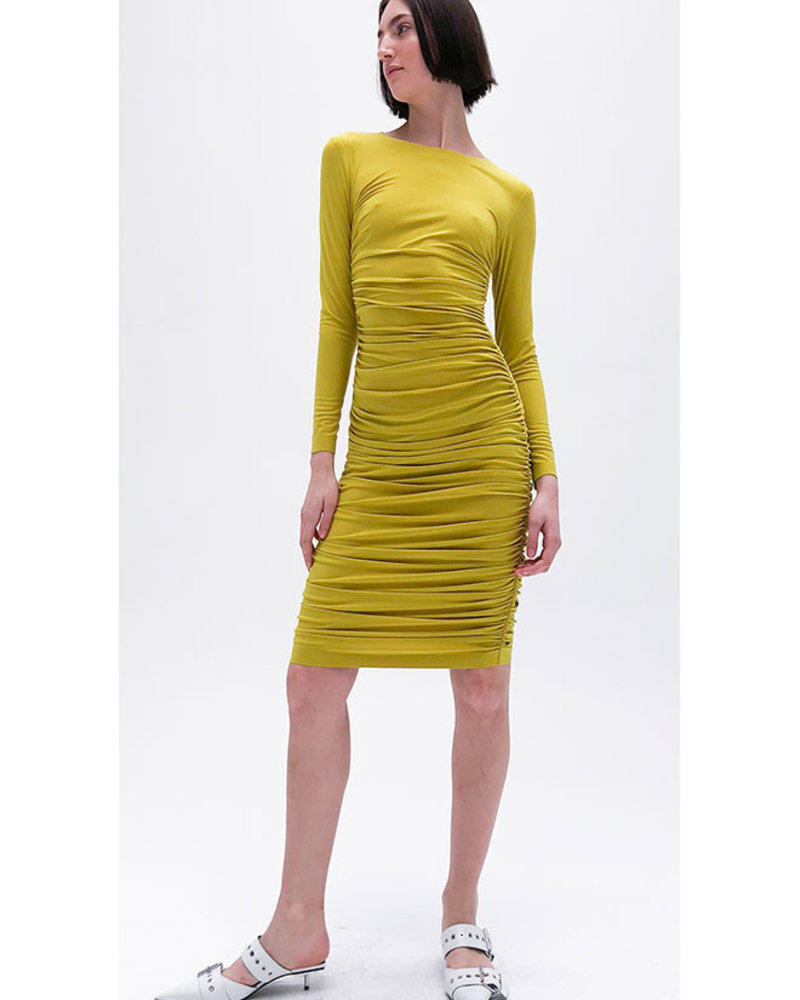 Norma Kamali Long Sleeved Shirred Dress