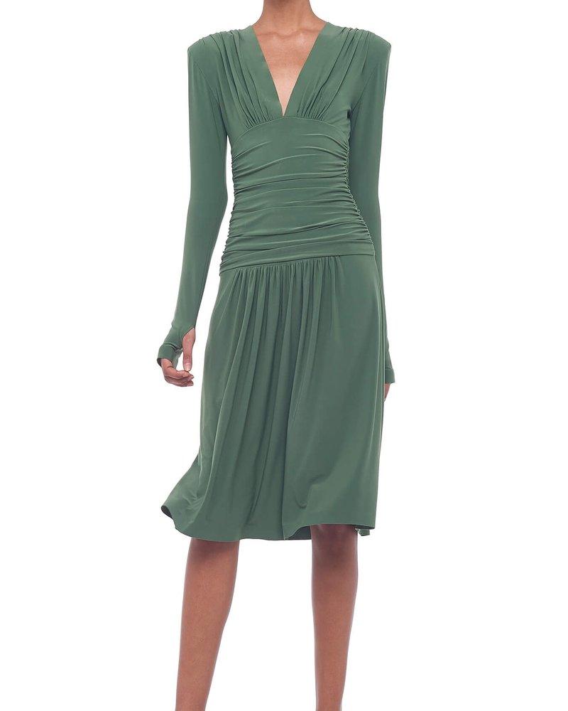Shirred Waist Dress W/ Shoulder Pads