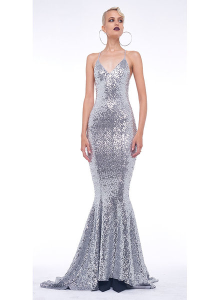 Norma Kamali Sequin Low Back Slip Mermaid Gown