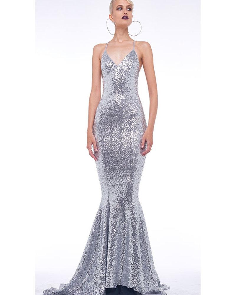 Norma Kamali Sequin Low Back Slip Mermaid Gown
